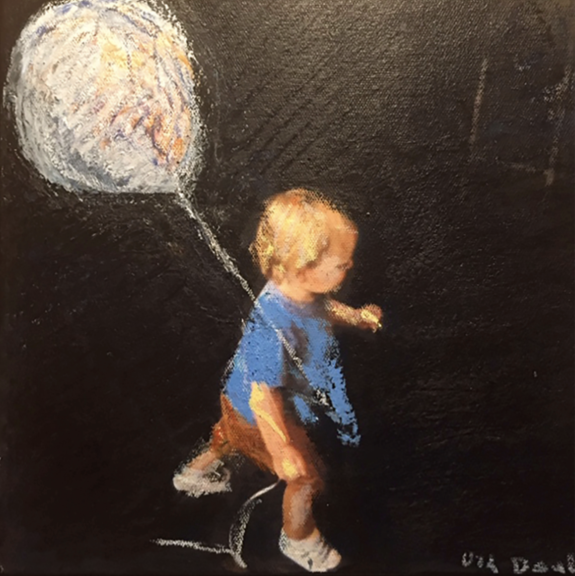 Young child with blond hair in blue shirt on black background seen from above holding a white balloon.